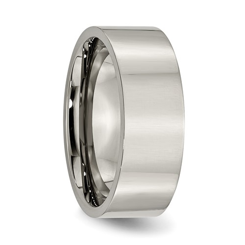 Chisel Titanium 8mm Polished Flat Wedding Band