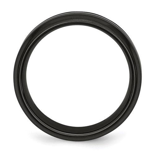 Chisel Titanium Black Ti Blue Anodized Grooves Beveled Edge 8mm Band