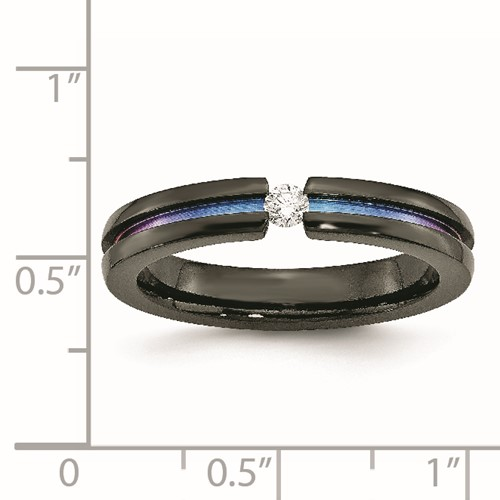 Chisel Titanium Black Ti Mulit-colored Anodized 3mm .14ct dia. 4mm Band