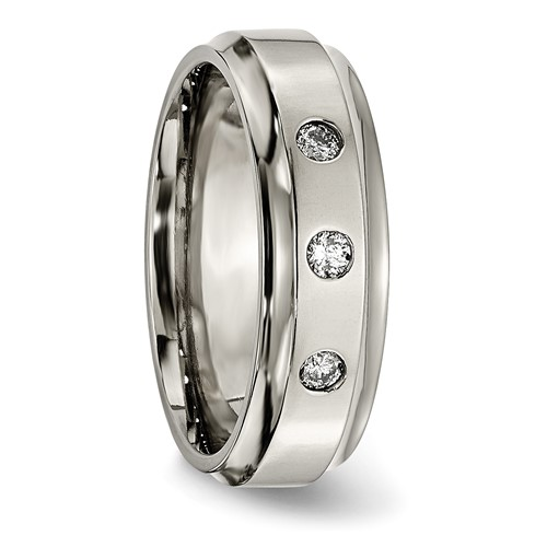 Titanium Polished 1/5ct. tw. Diamond Ridged Edge Band