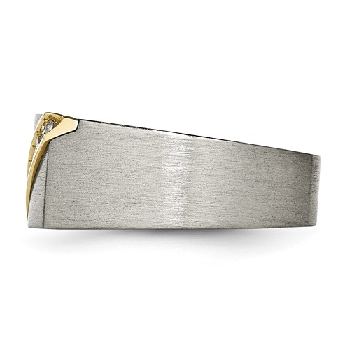Titanium/14K Brushed Diamond Ring