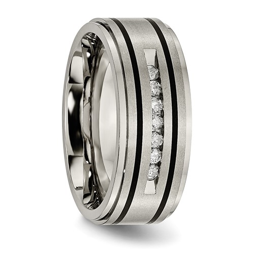 Titanium Polished/Brushed Enameled 1/4ct tw. Diamond 9mm Band
