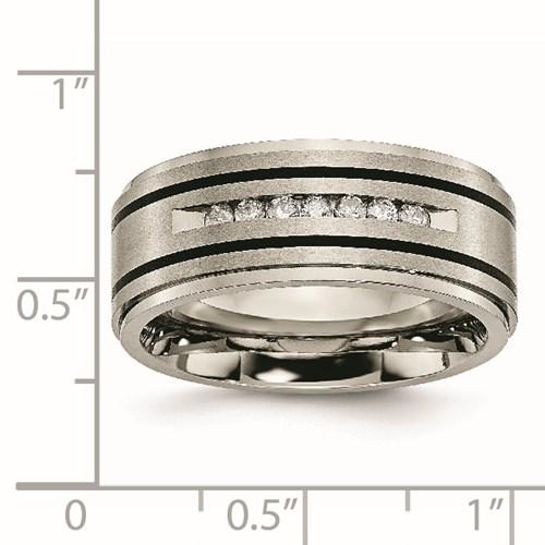 Titanium Polished/Brushed Enameled 1/4ct tw. Diamond 9mm Band