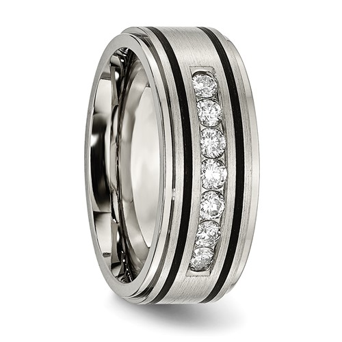 Titanium Polished/Brushed Enameled 1/2ct tw. Diamond 9mm Band