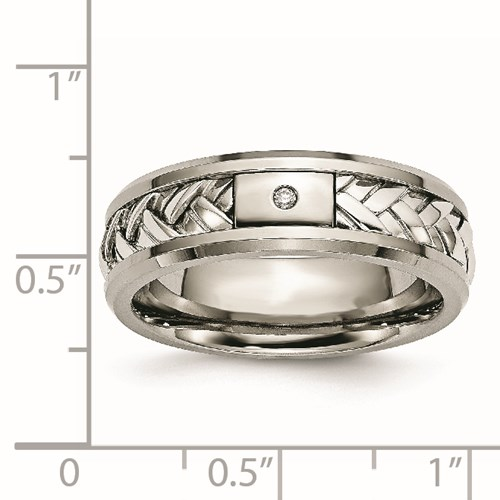 Titanium/Sterling Silver Inlay Polished 1pt. Diamond 7mm Band