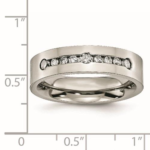 Titanium Polished 1/2 ct tw. Diamond 6mm Band