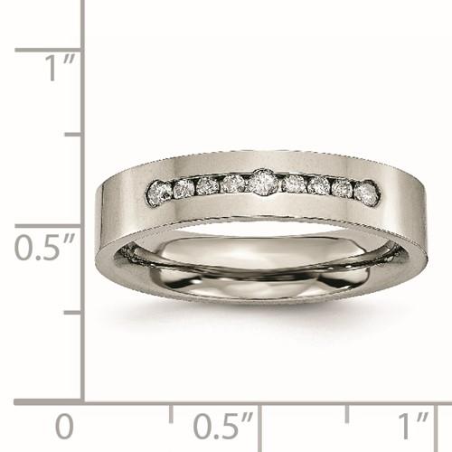 Titanium Polished 1/4ct tw. Diamond 6mm Band