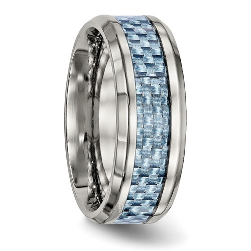 Titanium Polished Blue Carbon Fiber Inlay Ring