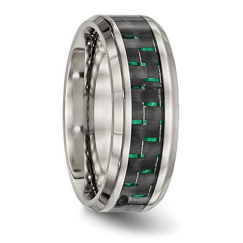 Titanium Polished Black/Green Carbon Fiber Inlay Ring
