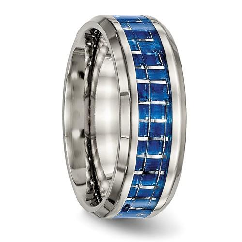 Titanium Polished Blue/White Carbon Fiber Inlay Ring