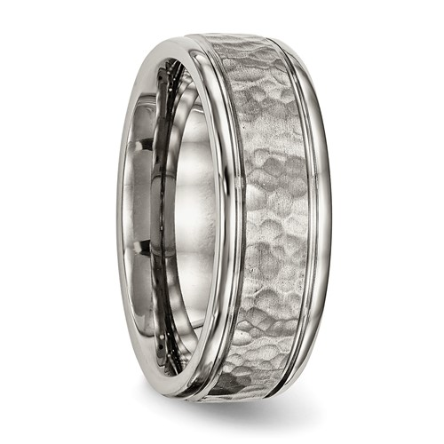 Titanium Polished with Satin Hammered Center Grooved Ring