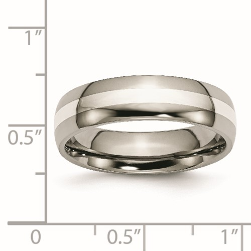 Chisel Titanium Sterling Silver Inlay Polished 6mm Wedding Band