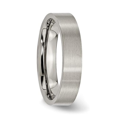 Chisel Titanium 5mm Brushed Flat Wedding Band