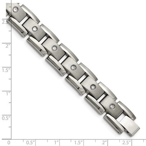 Titanium Polished/Matte 1ct tw. Diamond Bracelet