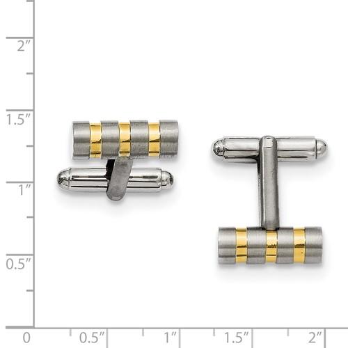 Chisel Titanium Gold-plated Cuff Links
