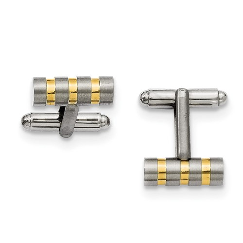 Chisel Titanium Gold-plated Cuff Links