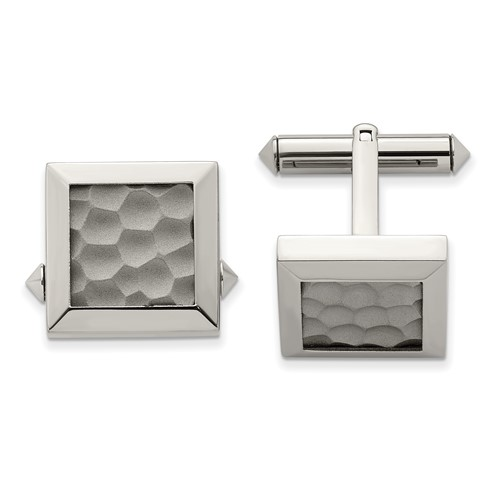 Chisel Titanium Hammered Cuff Links