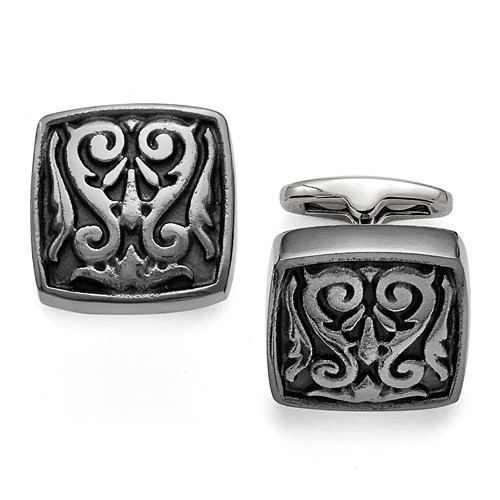 Titanium Black Ti Polished Etched Square Cuff Links
