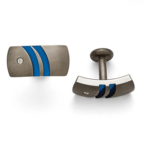 Titanium Brushed Anodized Blue with 0.06ct. tw. Diamond Cuff Links