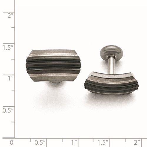 Titanium/Ster.Sil Black Ti Brushed/Polished Striped Cuff Links
