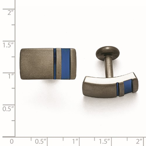 Titanium Grey Ti Brushed Blue Anodized Stripe Cuff Links