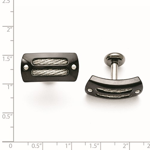 Titanium/Ster.Sil Black Ti Polished with Cable Inlay Cuff Links