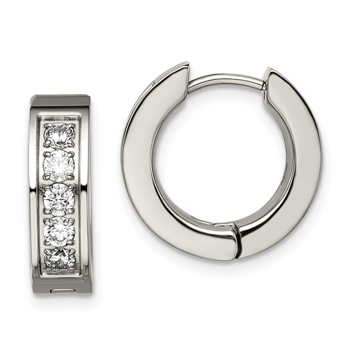 Titanium Polished with CZ 5.00mm Hinged Hoop Earrings