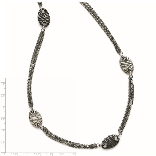 Titanium/Ster.Sil Black Ti Polished Etched Necklace