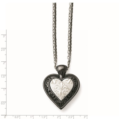 Titanium/Ster.Sil Black Ti Polished Etched Heart with 2 Chain Necklace