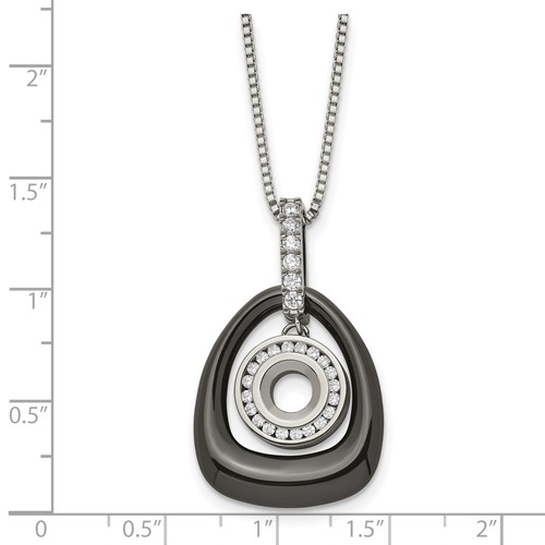Polished Ceramic with CZ Titanium Pendant on Steel Necklace