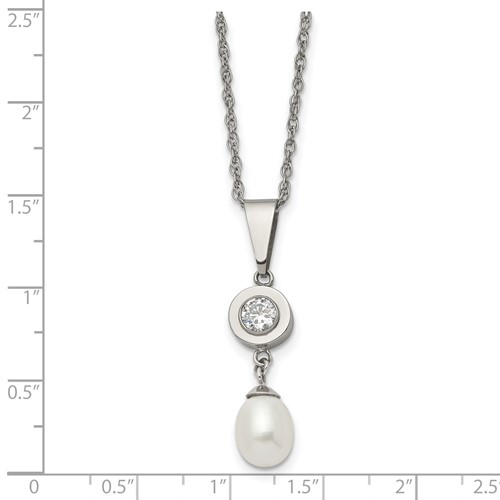 Titanium Polished with CZ and Freshwater Cultured Pearl Necklace