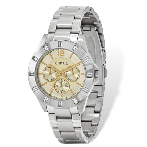 Mens Chisel Stainless Steel Champagne Dial Watch