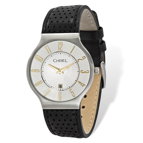 Mens Chisel Stainless Steel White Dial Black Leather Watch