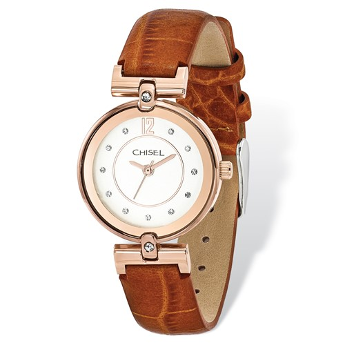 Ladies Chisel IP Rose-plated White Dial Brown Leather Watch