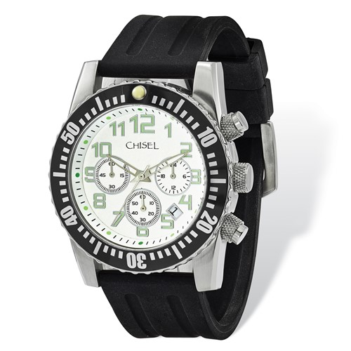 Mens Chisel White Dial Silicone Strap Chronograph Watch