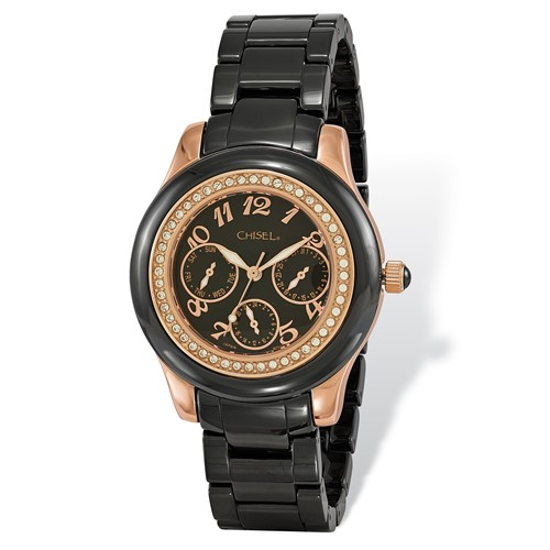 Ladies Chisel Rose IP-plated Black Dial Ceramic Watch