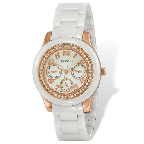 Ladies Chisel Rose IP-plated White Dial Ceramic Watch