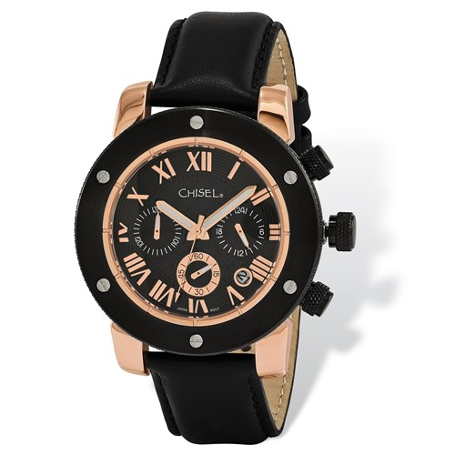 Mens Chisel Rose IP-plated Black Dial Chronograph Watch