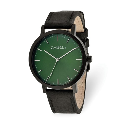 Chisel Matte Black IP-plated Green Dial Watch