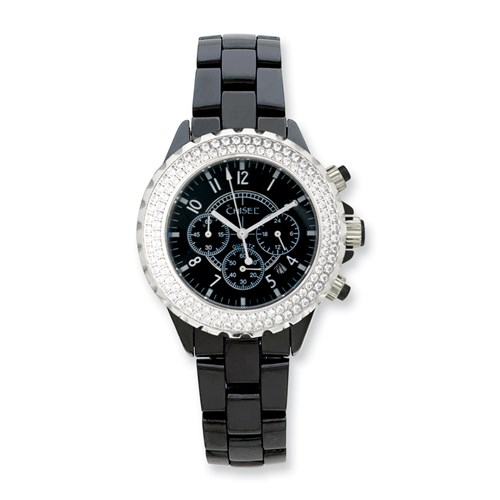 Mens Chisel Black Ceramic CZ Bezel Chronograph Watch