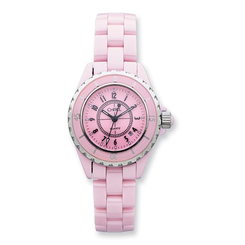 Ladies Chisel Pink Ceramic and Dial Watch