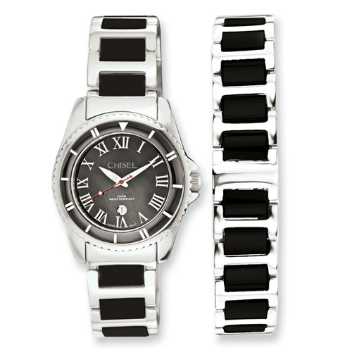 Ladies Chisel Ceramic and Stainless Steel Black Dial Watch and 7.5in Bracelet S