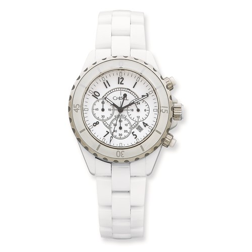 Mens Chisel White Ceramic and Dial Chronograph Watch