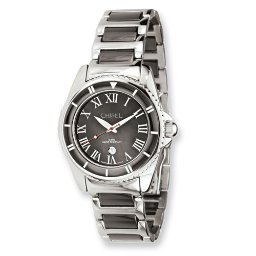 Ladies Chisel Stainless Steel and Ceramic Black Dial Watch