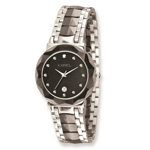 Mens Chisel Stainless Steel and Ceramic Black Dial Watch