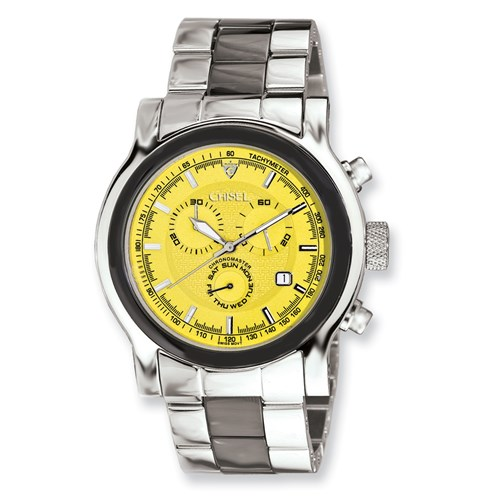 Men Chisel Stainless Steel Swiss Quartz Chrono with Yellow Dial Watch