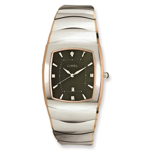 Mens Chisel Tungsten with Rose Gold Pated Edge/Gray Dial Watch
