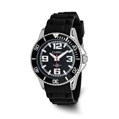 Men's Chisel 44mm Black Silicone Strap Watch