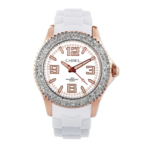 Ladies Chisel 40mm Rose IP-plated White Silicone Strap Watch