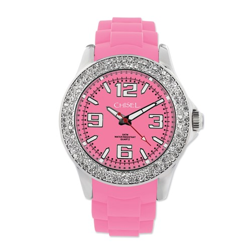 Ladies Chisel 40mm Crystal Bezel Pink Silicone Strap Watch